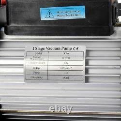 12 Cfm Vacuum Pump Single Stage 110V Inlet 1/4 3/8 Sae 1 Hp AC Conditioning