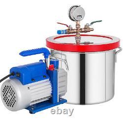 2.5CFM Vacuum Pump 1.5 Gallon Vacuum Chamber 0.5Pa Tool Degassing Silicone
