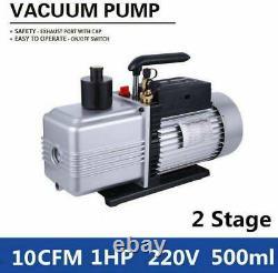 2-Stage 10CFM 1HP Rotary Vane Deep Vacuum Pump HVAC AC Air Tool R410a R134 black