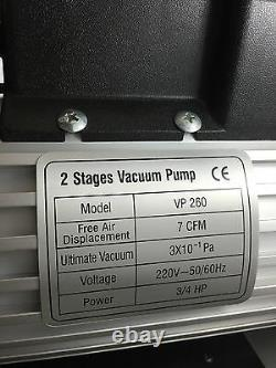 2 Stage 7 Cfm Vacuum Pump 114/min Vacuum Desiccator 2vp260 3/4hp 230 Volt 50hz