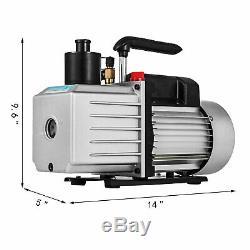 2-Stage 8 CFM Refrigerant Vacuum Pump Rotary Vane 1HP 1/2ACME AC R134a 500 ML