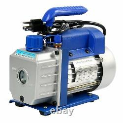 3.5CFM/4CFM/5CFM 1/4HP Air Vacuum Pump HVAC Kit AC A/C Manifold Gauge New CA