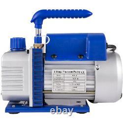 3 CFM 1/4HP Rotary Vane Vacuum Pump Manifold Gauge Set HVAC Refrigeration Kit