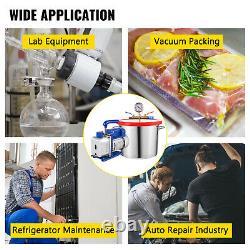 3 CFM 1 Stage Vacuum Pump 54L/min 2 Gallon Vacuum Chamber Degassing Silicone