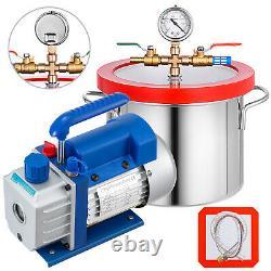 3 CFM Refrigerant Vacuum Pump + 1 Gallon Vacuum Chamber 220ml Gauge 1/4HP 220ml