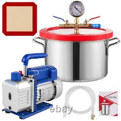 3 CFM Vacuum Pump + 1 Gallon Vacuum Chamber HVAC 1720RPM Deep Vane 220ml AC