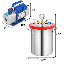 3 Gallon Vacuum Chamber 4 CFM Deep Vane Pump 5Pa with 4CFM Stainless Steel