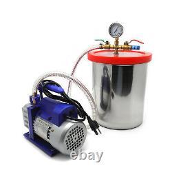 3 Gallon Vacuum Chamber Degassing Silicone Set 3CFM Pump Single Stage 1/4HP Kit
