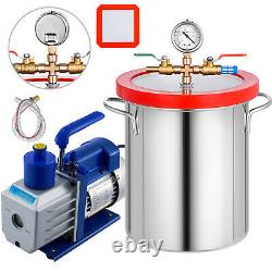 3 Gallon Vacuum Chamber Degassing Silicone with 5 CFM Single Stage Pump Kit
