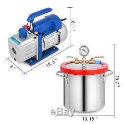 3 Gallon Vacuum Chamber with 4 CFM Deep Vane Pump Purge Degas Epoxy Silicone Resin