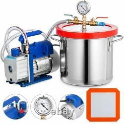 3CFM vacuum pump supporting 2 gallon vacuum stainless steel drum combination