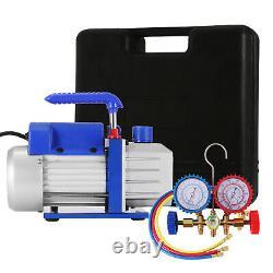 4 CFM Vacuum Pump Rotary Vane Deep HVAC + R134A Kit AC A/C Manifold Gauge 1/4HP