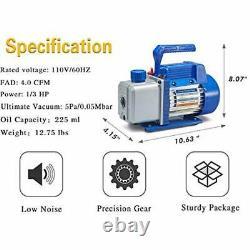 4CFM 1/3HP Air Vacuum Pump HVAC A/C Refrigeration Tool Kit AC, Auto Repair Gauge