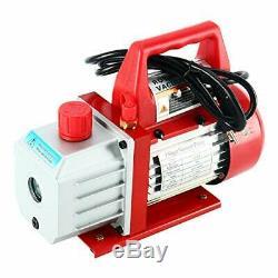 4CFM 1/3HP Rotary Vane Air Vacuum Pump HVAC A/C Refrigeration Kit AC Gauge Set C