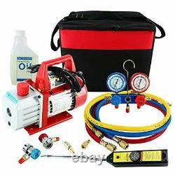 4CFM Air Vacuum Pump HVAC Refrigeration Kit AC Manifold Gauge Set +Leak Detector