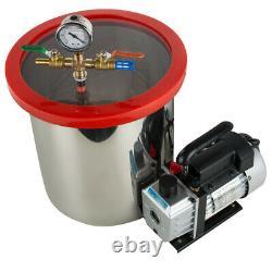 5 Gallon 3 CFM Stainless Steel Vacuum Degassing Chamber Kit 3CFM Pump CA STOCK