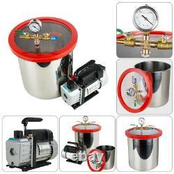 5 Gallon Stainless Steel Vacuum Degassing Chamber Kit 3CFM Pump Hose from CA