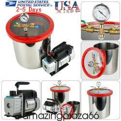 5 Gallon Stainless Steel Vacuum Degassing Chamber Silicone Kit with5 CFM Pump USA