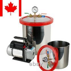 5 Gallon Stainless Vacuum Degassing Chamber Kit 3CFM Pump FDA/CE Pro