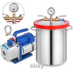 5 Gallon Vacuum Chamber Degassing 4CFM Vacuum Pump 200ml Single Stage Gauge