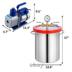 5 Gallon Vacuum Chamber Stainless Steel Degassing Silicone Kit 5CFM Vacuum Pump