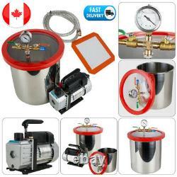 5Gallon Vacuum Chamber 3CFM Single Stage Pump Degassing Silicone Machine 21L Kit