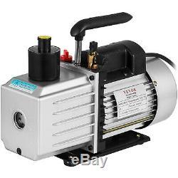 8CFM Two-Stage Rotary Vane Vacuum Pump Recharging 15Micron 1HP Oil Reservoir