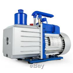 9CFM 2 Stages Vacuum Pump 1HP Air Conditioning 3x10-1Pa 25 microns Oil capacity