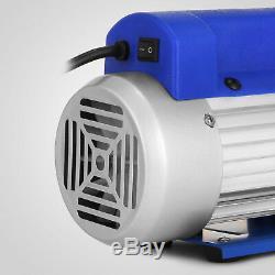 A/C Manifold Gauge Hose Air Conditioner R134a R502 +3CFM Rotary Vane Vacuum Pump