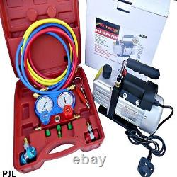 A/C Refrigeration Kit AC Manifold Gauge Air Vacuum Pump HVAC Combo 3CFM ¼ Hp AC1
