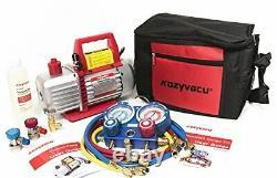 Auto Ac Repair Complete Tool Kit With 1Stage 3.5 Cfm Vacuum Pump Manifold Gauge