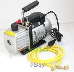 Combo 3CFM 1/4hp AC Vacuum Pump & HVAC Refrigeration Manifold Gauge R134 R22 R12