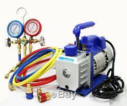 Combo AC Refrigerant 3cfm Vacuum Pump & R12 R22 R134A AC MANIFOLD GAUGE SET