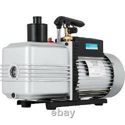 Dual 2 Stage 12CFM Vacuum Pump 1 HP Rotary Vane Deep HVAC AC Air Tool R410a R134