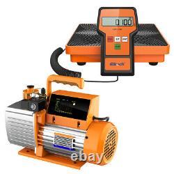 Elitech SVP-7 Vacuum Pump 7 CFM 2 Stage Intelligent HVAC+LMC-100F Charging Scale