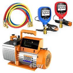Elitech SVP-7 Vacuum Pump 7 CFM 2 Stage+PT-500/800 Pressu Gauge Set HAVE Tools