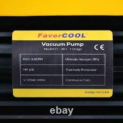 Favorcool 3.6Cfm 1/4Hp Air Vacuum Pump With Manifold Gauge Set For Freon Chargin
