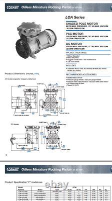 GAST LOA-P103-HD OIL LESS ROCKING PISTON. 83cfm VACUUM PUMP newoutbox FREESHIP