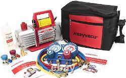 Kozyvacu AUTO AC Repair Complete Tool Kit with 1-Stage 3.5 CFM Vacuum Pump, Set