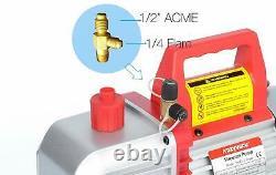 Kozyvacu TA500 5CFM 2-Stage Rotary Vane Vacuum Pump (5.0 CFM, 40 Micron, 1/2 HP)