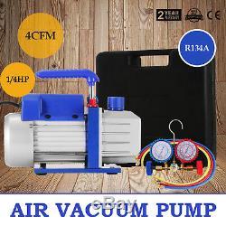 Manifold Dual Gauge 4 Valve R404A R410A R22 A/C HVAC with 4CFM Vacuum Pump Kit MX