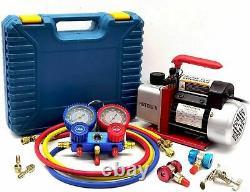 NEW 4CFM Air Vacuum Pump HVAC/Auto AC Refrigerant Recharging Manifold Gauge Set