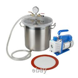 Pro 5 Gallon Vacuum Chamber&3 CFM Single Stage Pump to Degassing Silicone Set CE