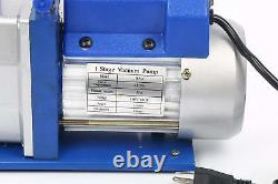 R134A R22 4.8 CFM 1/3HP Air Vacuum Pump Single Stage + 4 Hoses 4 VALVE GAUGE SET