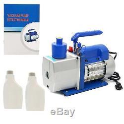 R410A R134A 4.8 CFM Vacuum Pump HVAC A/C Refrigerant With4VALVE MANIFOLD GAUGE -CA