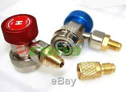 R410A R134A R22 4.8 CFM Vacuum Pump HVAC A/C Refrigerant With4VALVE MANIFOLD GAUGE