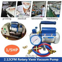 Rotary Vane Deep Vacuum Pump 2.12CFM 1/5HP Single Stage 220V Electric Air Pump
