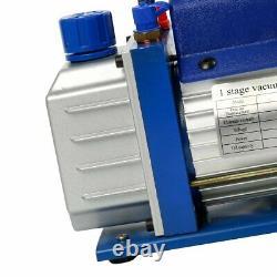 Single Stage Vacuum Pump 3CFM 1/4HP Rotary Vane Deep HVAC AC Air Tool CA Stock