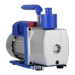 Single Stage Vacuum Pump 7CFM 1/2HP Rotary Vane VEVOR AC Black New Deep HVAC