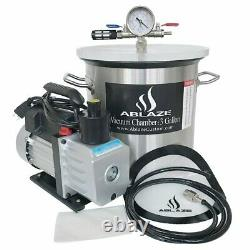 Stainless Steel Vacuum Degassing Chamber and 3 CFM Single Stage Pump 3 Gallon